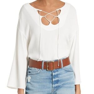 FRAME Mirrored Lace Up White Crepe Top